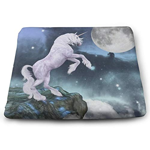 Unicorn Horse Under Moon Chair Seat Cushions Pads Memory Foam Office Dining Kitchen Soft Chair Cushion for Pressure Relief, Wheelchairs, Patio, Cafe, Garden, Indoor, Non Slip