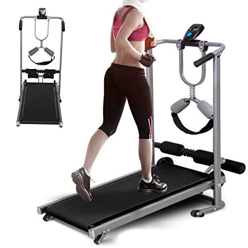 Queiting Treadmills Manual Treadmill Folding Treadmill Fitness treadmill for home Office Gym stadium Cardio Fitness Running Treadmills (Black)