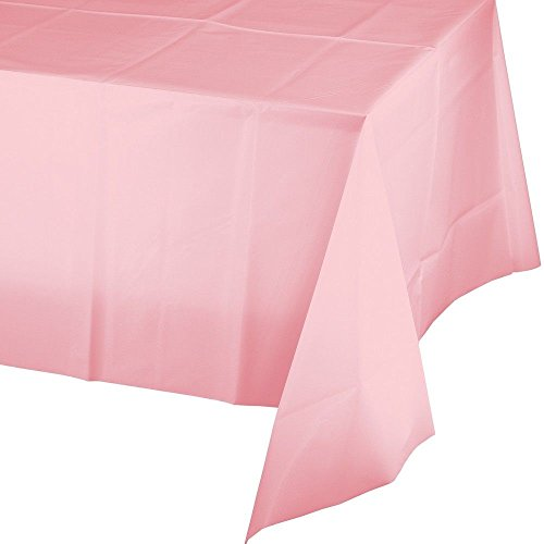 "Mountclear 12-Pack Disposable Plastic Tablecloths 54"" x 108"" Rectangle Table Cover (PINK)"