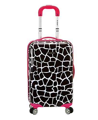 Rockland Safari Hardside Spinner Wheel Luggage, Pink Giraffe, Carry-On 20-Inch
