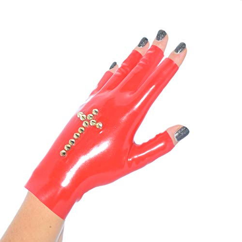 Rubberfashion kurze Latex Handschuhe, fingerlose Latexhandschuhe bis zum Handgelenk mit Studs Kreuz nicht chloriert für Frauen und Herren 1 Paar rot S