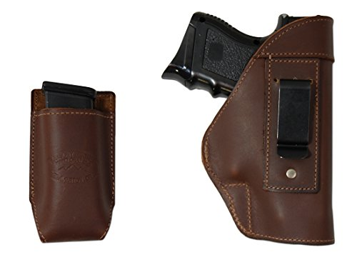 Barsony New Brown Leather IWB Holster+ Single Magazine Pouch for Shield Lasermax Centerfire Right