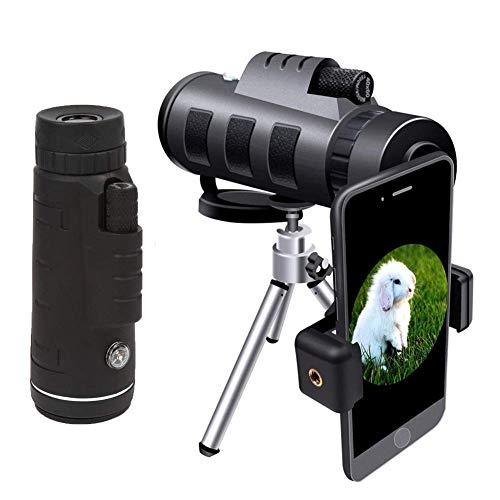 Telescopio monocular Alta potencia, 40x60 Compact Monoculares portátiles Alcance impermeable con clip de teléfono Trípode para observación de aves Caza Senderismo Pesca Al aire libre Sporting Conciert