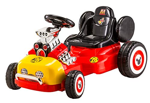 Kid Trax Disney Kids Mickey Roadster Racer Go-Cart Ride On Toy, 6 Volt, Kids 3-5 Years Old, Max Weight 55 lbs, Single Rider, Battery and Charger Included, Red