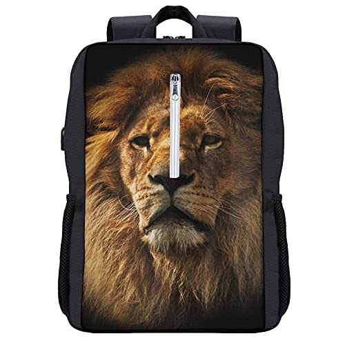 Travel Laptop Backpack,Lion Portrait with Rich Mane on Black,Business Anti Theft Computer Bag Slim Durable with USB Charging Port