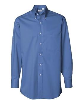 Van Heusen Regular Fit Twill Solid Button Down Collar Dress Shirt Cobalt XXX-Large