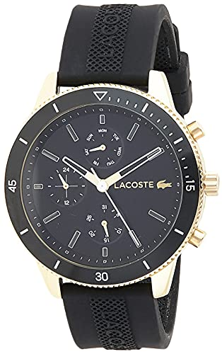 Lacoste Mens Quartz Watch, Analog Display and Silicone Strap 2010994, Black