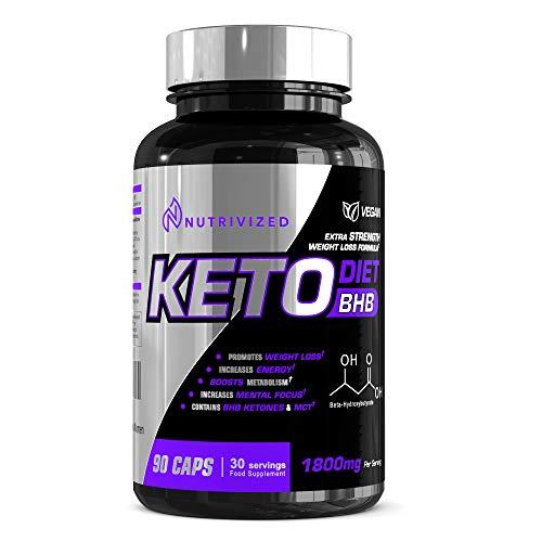 Nutrivized Keto Diet Pills - BHB - MCT Oil - Green Tea Extract - 90 Capsules - Extra Strength Exogenous Ketones - 1800mg - Vegan - for Men & Women