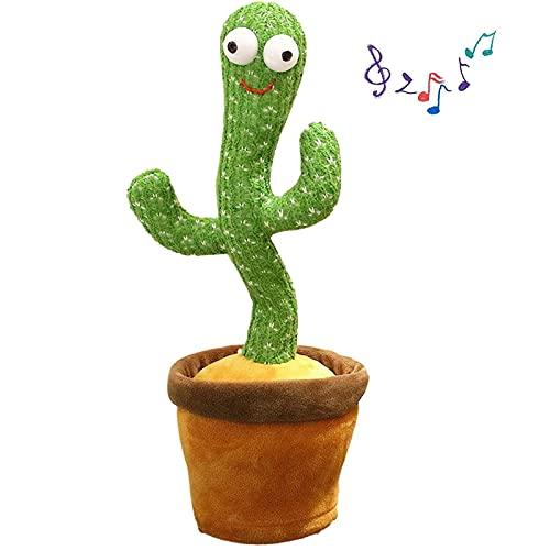 TAIYANYU Cactus bailarín, Cactus bailarín de Peluche en Maceta Sing + Repeat + Dance + Grabación + Led - Cactus bailarín y Juguete de imitación para la educación temprana de los niños (2 Piezas)