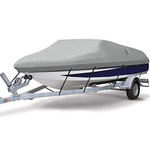 Gycdwjh Funda De Lancha Motora Impermeable, 420D Heavy Duty Tela Oxford Funda para Barco Transpirable y Duradero Funda para Barco para V-Hull Runabout,Gris,11to13FT