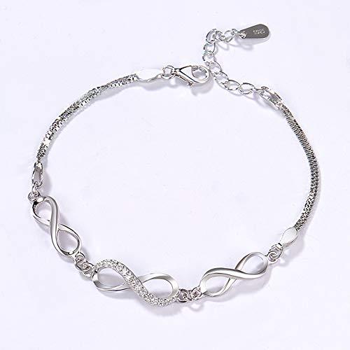Boenxuan Klassisch Unendlichkeit Symbol Damen Armband 925 Sterling Silber,Zirkonia Armkette Verstellbar Charm Armreif,Rot