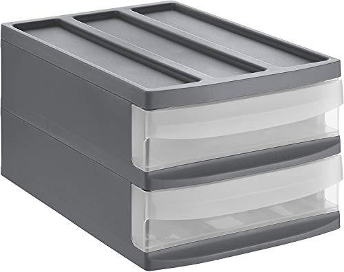 Rotho Systemix Schubladenbox mit 2 Schüben, Kunststoff (PP) BPA-frei, anthrazit/transparent, M Duo (39,5 x 25,5 x 20,3 cm)