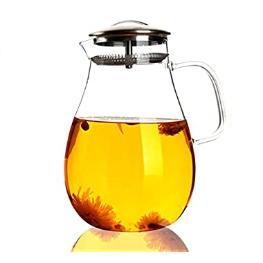 Large Glass Water Pitcher, 68 Ounces / 2000 Milliliters Tea Kettle with Removable Stainless Steel Infuser Lid and Spout, a Perfect Flower Teapot and Iced Tea Maker