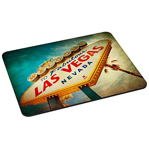 Pedea Gaming und Office Mauspad - 220 x 180 mm - mit vernähten Rändern und Rutschfester Unterseite, Las Vegas