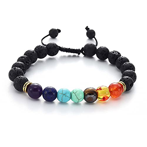 Yean Pulsera de cuentas de color turquesa con cadena de mano, pulsera de curación de 7 chakras, yoga, piedra volcánica de oro, joyería de mano para mujeres y niñas