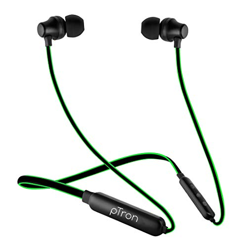 PTron Tangent Lite Wireless Bluetooth In-Ear Neckband Headphone With Mic (Black and Green)
