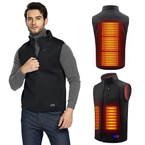 Chaleco Calefactable Electrico para Hombre y Mujer - Chaleco Ligero USB con Doble Control de Temperatura independiente para Moto, Caza, Pesca, Ciclismo (Batería no incluida) (XL, Negro)