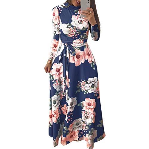 Kvinnoklänning, kvinnor maxi lång klänning blommigt tryck hög hals långärmad höst klänning bunden bandage midja maxi klänning elegant semester ett stycke