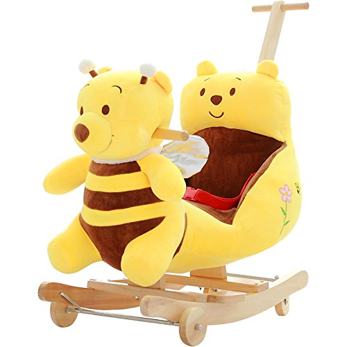 Rocking Horse Wooden Baby 2 in 1 Plush Rocking Horse with Wheels Toy For1-4 Years Child Rocking Horse/Baby Rocker Bule/Animal Rocker/Nursery/Seat Birthday Gift