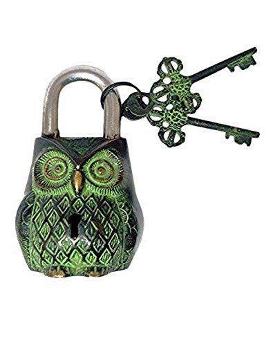 PARIJAT HANDICRAFT Functional Brass Beautiful Padlocks with Two Keys Owl Shaped Brass Lock Antique Handcrafted Locks for Security