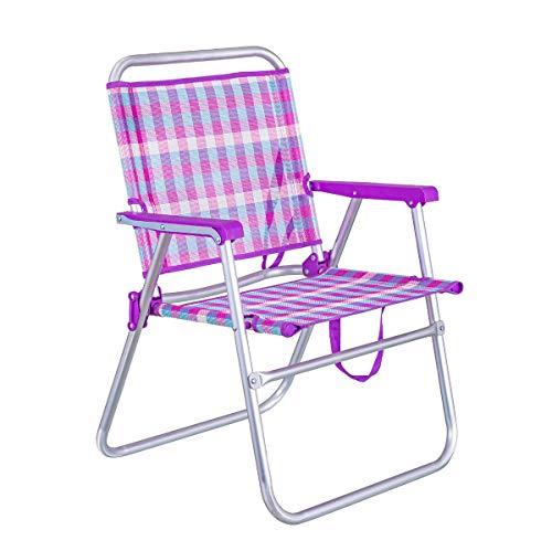 LOLAhome Silla de Playa Plegable Fija de Aluminio y textileno (Rosa y Violeta)