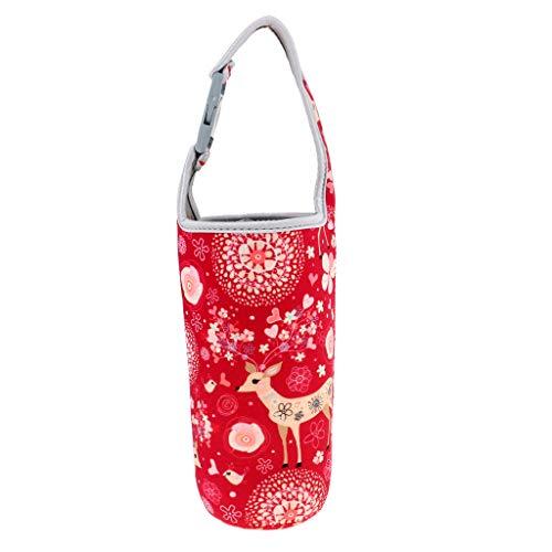 Baoblaze Flaschenhalter Trinkflasche Beutel Neopren Wasserflaschenhalter für Wandern, Radfahren, Wandern, Picknick, Camping - Rotwild