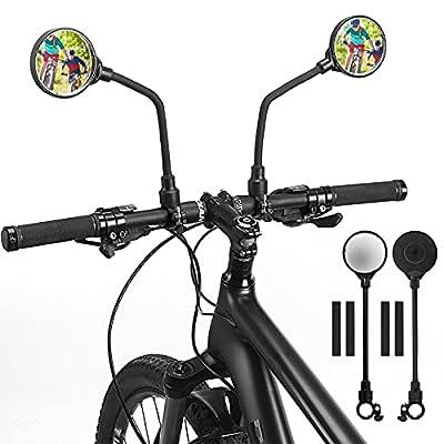 Kaskawise 2 STÜCK Fahrradspiegel Für Lenker 22-32mm Fahrrad Weitwinkel Rückspiegel Sicherer Spiegel 3D,360°Verstellbarer und Drehbarer Seitenspiegel Fahrrad Mountainbike Rennräder E-Bike