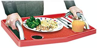 Guardian Tray Holding Raised Edge Dinner Sturdy Plastic Removable Non Slip Pad Lifts Off Home Elder Care Over The top of Walker Holder Take Good Care Your Elder Red (Tray only with Non-Slip Pad)