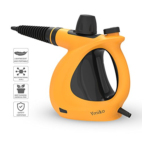 Ymiko Handheld Multi-Purpose Pressurized Steam Cleaner with 9-Piece Accessories for Stubborn Stains Removal in Bathroom, Kitchen, Surfaces, Floor, Carpet & Much More, Orange