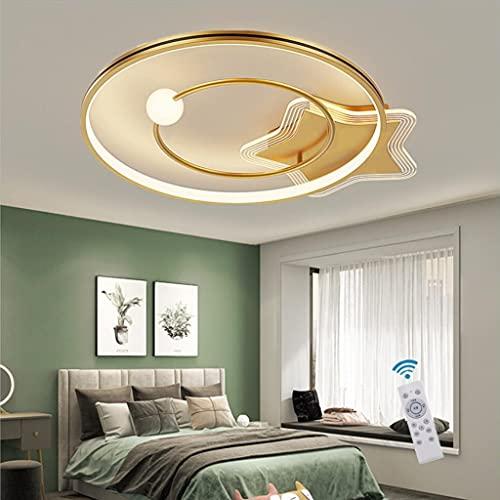 WJCJ Lampara LED De Techo Regulable Dormitorio Plafon Luz Moderno Forma Redonda Anillo Diseño con Mando a Distancia Interior Iluminacion para Comedor Salon Niño Habitación Lámpara Colgante,50cm