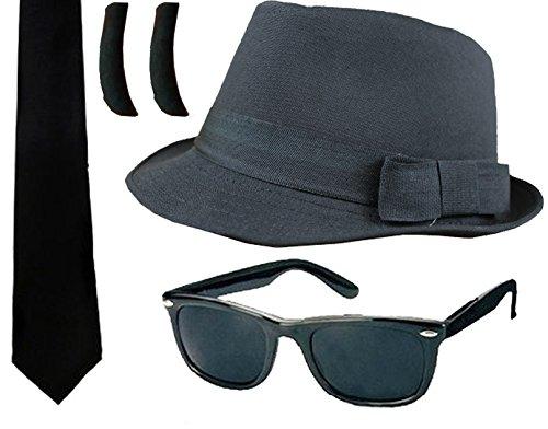 ILOVEFANCYDRESS Accesorios para Disfraz de Banda de música norteamericana, con Sombrero, Gafas de Sol Negras, Patillas Negras y Corbata Negra