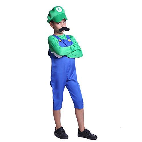 Gr.L Luigi Super Mario Klempner Kostuem Mario & Luigi fuer Kinder Jungen Maedchen Halloween Anzug Vidiogames Csoplay