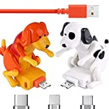 Cable de carga para perros callejeros, cargador de cable USB, mini humping lindo perro Spot juguete, para iPhone Android tipo C varios modelos teléfonos (naranja, para Android)