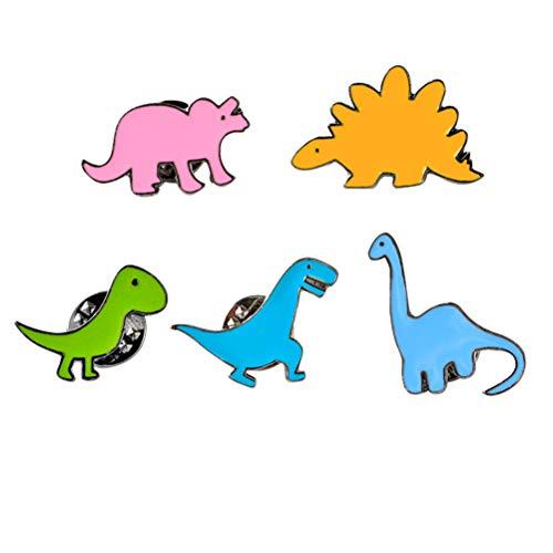 Amosfun 5 alfileres esmaltados con diseño de dinosaurio, diseño de dinosaurio, para juguete divertido de los niños (mixto)