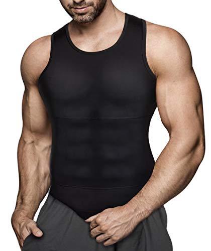 Gotoly Herren Unterhemden Shapewear Workout Tank Tops Kompressionsshirt Muskelshirt Abnehmen Body Shaper Abs Bauch Weg Shirt Unterhemd Feinripp (3XL, Schwarz)