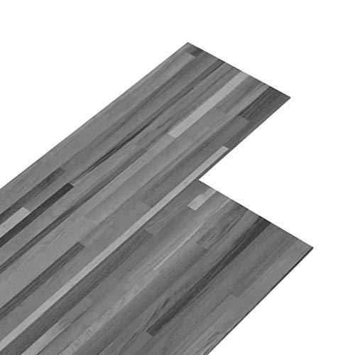 vidaXL PVC Laminat Dielen 5,02m² 2mm Selbstklebend Vinylboden Vinyl Boden Planken Bodenbelag Fußboden Designboden Dielenboden Gestreift Grau