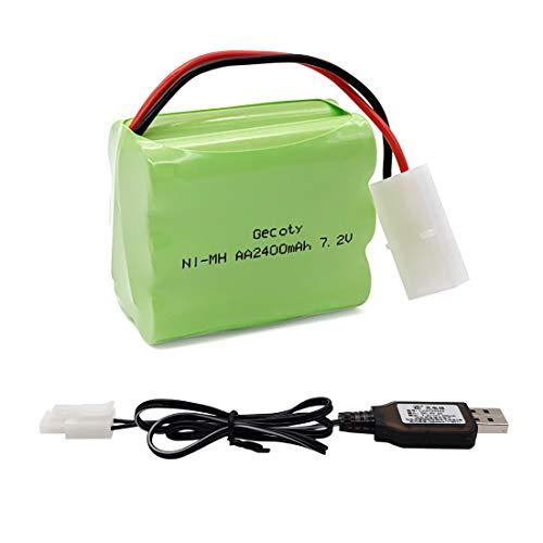 Gecoty® Batería 7.2V 2400mAh RC, batería Recargable NiMH AA con Cable de Carga USB y Enchufe Tamiya para Juguetes de Control Remoto, iluminación, Herramientas eléctricas, electrodomésticos