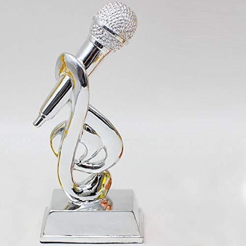 Beeldbeeld, sculptuur, microfoon, zilverhars, creatief, moderne decoratie, trofee, creatieve kunstfiguren