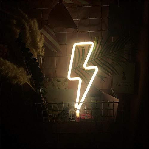 Horypt LED Neon Nachtlichter, USB-betriebenes Nachtlicht Wanddekoration , Batteriebetriebene Nachtlichter Blitzförmige Leuchtreklamen für Weihnachten Geburtstagsfeier Wohnzimmer