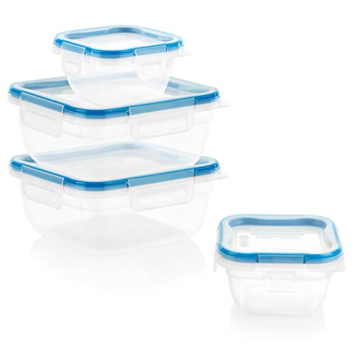 Snapware Total Solution Rectangular Plastic Food Storage Set (8-Piece, BPA Free, Meal Prep, Leak-Proof, Microwave, Freezer and Dishwasher Safe)