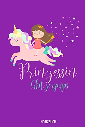 Prinzessin Glitzerpups Notizbuch: 100 leeres Karo Papier   ca. A5 (6x9