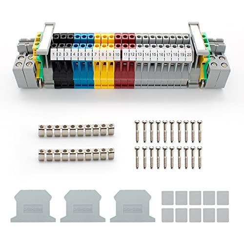 SRJQXH Bloque de Terminales de carril DIN, UK/ MBKK2.5 Terminal de Paso Paso, Bloques de Conectores, Kit de Abrazadera de Carril DIN, Adecuado para Conexión y Conversión de Circuitos