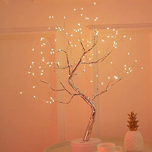 POHOVE 18/20\'\' de Mesa Árbol Bonsái Luz LED Luces Firefly Pearl Árbol Lámpara USB Artificial Lámpara Árbol Lámpara Decoración con Pantalla Táctil Interruptor Alambre de Cobre Árbol Luces 36/108 Leds