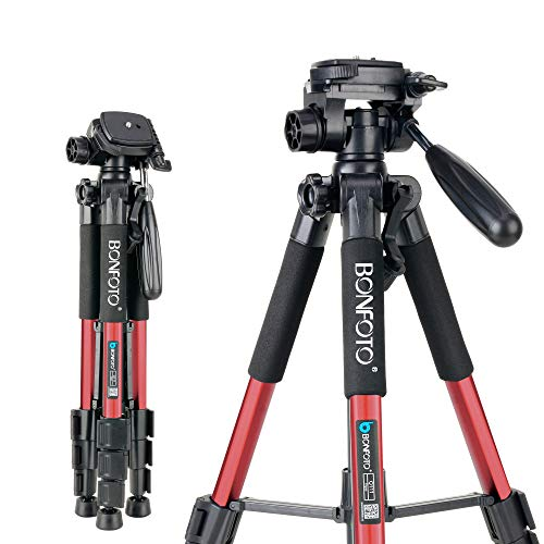 BONFOTO Tripod Q111 55' Flexible Travel Camera Tripod with 3-Way Pan Head and Phone Holder Mount for Gopro,Projector,Smartphones Tablet to Live Broadcast and DSLR EOS Canon Nikon Sony Samsung(Red)