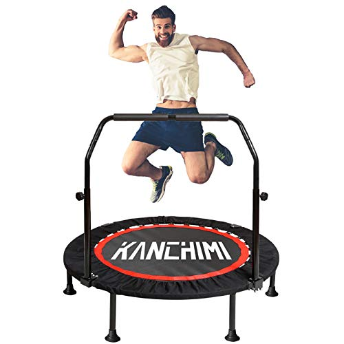 "Kanchimi 40"" Folding Mini Trampoline for Kids,Fitness Rebounder with Adjustable Foam Handle,Outdoor Indoor Trampoline for Kids and Adults Workout Max Load 330lbs"