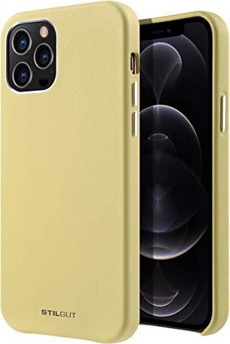 StilGut Cover kompatibel mit iPhone 12/12 Pro Hülle aus Leder -Lederhülle, Ledercase - Gelb