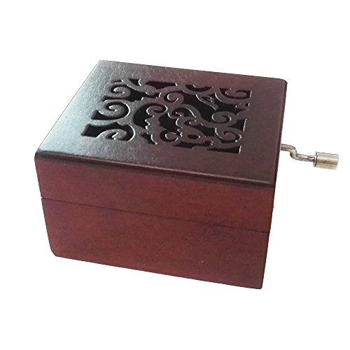 FnLy - Caja musical de madera con 18 notas grabadas antiguas, caja de regalo de música, caja de música de noche silenciosa