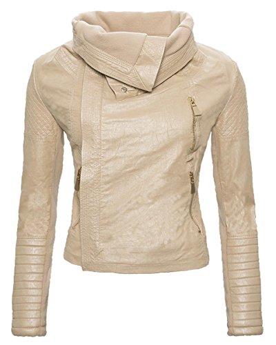 Rock Creek Selection dames kunstlederen jas overgangsjas bikerjas lederlook valkraag zwart beige bruin S-XL D-77