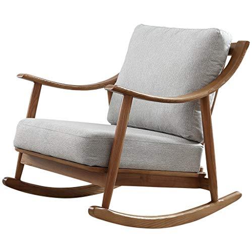 ZHongWei Sillón Lazy Chair, Silla de Madera nórdica Mecedora reclinable Sofá Perezoso Adulto...