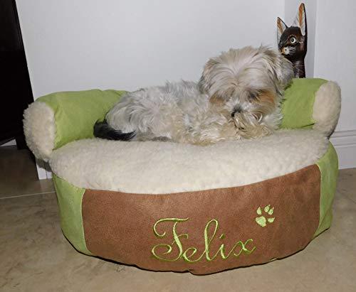 LunaChild Hunde Sofa Lounge Hundebett mit Name Schurwolle Lama Größe S M oder L in 15 Farben erhältlich
